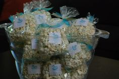 Boy Baby Shower Party Favors-  White Chocolate Popcorn with blue sprinkles.  I made these for a friend for a baby shower she was hosting.  Can be made any theme or any holiday!