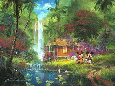 """Warm Aloha"" by James Coleman | Disney Fine Art | Disney's Mickey and Minnie Mouse"