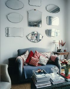 love everything in this room, especially the vintage bevelled mirrors...