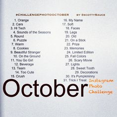 October Instagram Photo Challenge