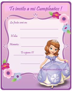 Invitación de Cumpleaños con Princesa Sofía