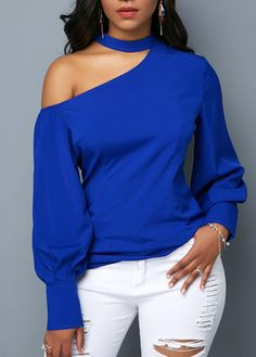 Stylish Tops For Girls, Trendy Tops, Trendy Fashion Tops, Trendy Tops For Women Blue Blouse Outfit, Blue Shirt Outfits, Royal Blue Outfits, Royal Blue Skirts, Royal Blue Blouse, Blue Fashion, Girl Fashion, Fashion Outfits, Womens Fashion
