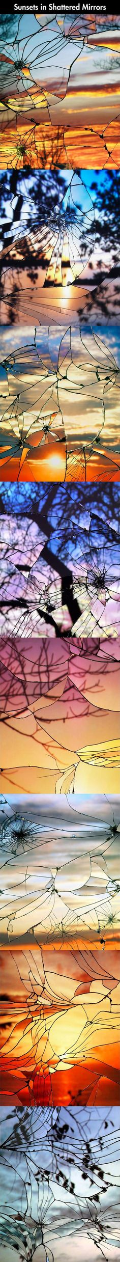 Sunsets in a broken mirror. Easy to do with your camera and the results are beautiful.