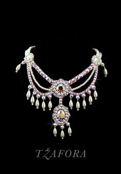 Fit for a queen! Ballroom jewelry and accessories. This beautiful necklace is a mix of Swarovski Crystal AB and pearl.