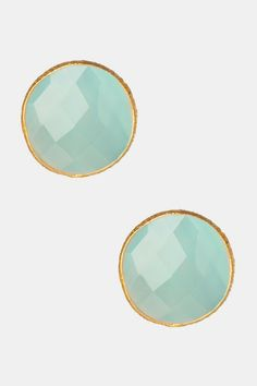 Faceted Aqua Chalcedony Stud Earrings