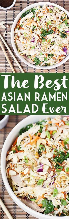 The Best Asian Ramen Chicken Salad EVER -- Power up your ramen salad with 6 superfoods, rotisserie chicken and a to-die-for dressing for an Asian ramen chicken salad that's a perfect summertime dish! | halfscratched.com #salad #asian #sidedish #chicken