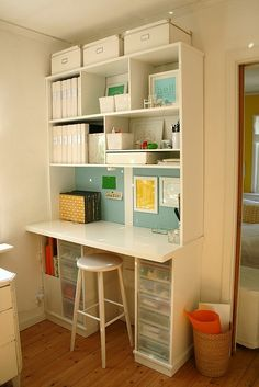 From the pinner - Idea.... Gonna spruce up my old white shelves in my office by painting the inside a different color!!!!