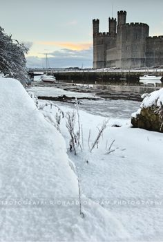 Caernarfon Castle, Wales - in the snow