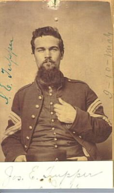 Portrait of Joseph E. Tupper, 1861-1863. Clarkston. Enlisted in company I, Tenth Infantry, as Sergeant, Dec. 29, 1861, at Flint, for 3 years, age 23. Mustered Feb. 6, 1862. First Sergeant. Sergeant Major March 31, 1863. Commissioned Major, Seventeenth U.S. Colored Troops, Nov. 9, 1863. (Descriptive Roll Tenth Michigan Volunteers).