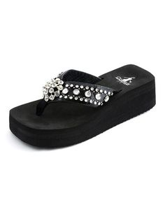 Take a look at this Black Los Angeles Thong Sandal by Corky's Footwear on #zulily today!