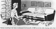 """""""Because everything in her home is waterproof, the housewife of 2000 can do her daily cleaning with a hose.""""....love the floor drain"""