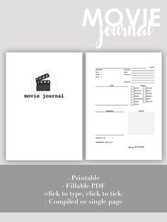Printable & Fillable PDF Movie Journal by daytodaydo on Etsy Calling all movie lovers! Where are the thoughts you had when you watch that Woody Allen movie? Did you are did you not watch that new controversial indie movie? Where did you scribble that awesome quote from that last movie you watch? Keep your movie-related notes in one place!
