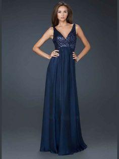 Impressive Chiffon A-Line Floor-Length Straps Sleeveless V-Neck Evening Sequined Prom Dress
