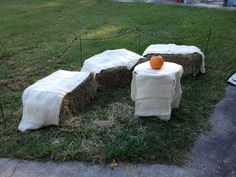 Hay bales with burlap for a Halloween party