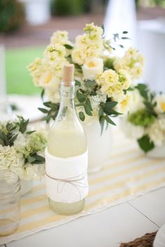 Great looking way to serve a signature lemonade, infused water or ice water. Use recycle bottle, thin dish cloth & twine. Love.