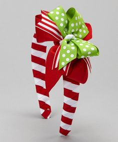 Take a look at this Red & Green Polka Dot Bow Headband by Waistin' Away on #zulily today!