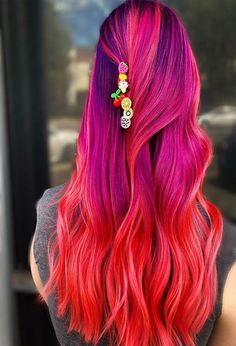 Bright Hair Cold Drinks And Fruit Shaped Hair Color Ideas Vivid Hair Color, Bright Hair Colors, Colorful Hair, Hairdos, Messy Hairstyles, Hair Color Highlights, Cold Drinks, Hair Trends, Hair Goals