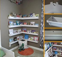 A really simple shelving idea spotted on the web.  Using plastic guttering to create cost effective shelving in a child's bedroom.