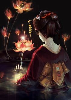 ... Something terrible has happened to this geisha's village, so she sets out on a quest from a legend. The lotus will spirit her away to her journey, but it is guarded by a demon.