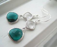 Emerald Green Earrings  Dark Green Jewelry  by Sparkleandswirl