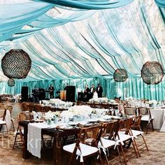 clear wedding tent with fabric