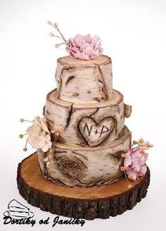 Birch wedding cake by dortikyodjanicky &; Birch cakes ca &; Birch wedding cake by dortikyodjanicky &; Birch Wedding Cakes, Wedding Cake Boxes, Country Wedding Cakes, Floral Wedding Cakes, Wedding Cake Flavors, Wedding Cake Rustic, Rustic Cake, Cool Wedding Cakes, Wedding Cake Designs