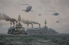 Fleet at sea by Vadim Voitekhovitch, *voitv on deviantART   via Steampunk Tendencies