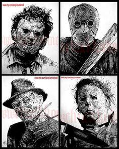 Print 8x10  Leatherface Jason Voorhees Freddy Krueger by chuckhodi, $30.00