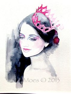 Watercolor Painting. Original Watercolor Fashion Illustration. Titled: Pink Crown. $55.00, via Etsy.
