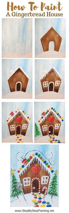 New Ideas christmas canvas art diy Painting For Kids, House Painting, Diy Painting, Art For Kids, Kids Fun, Beginner Painting, Watercolor Beginner, Painting Tutorials, Christmas Canvas