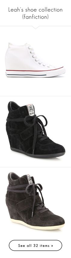 """""""Leah's shoe collection (fanfiction)"""" by thefuturemrsambrose ❤ liked on Polyvore featuring shoes, sneakers, giuseppe zanotti sneakers, black wedge sneakers, high top wedge sneakers, wedge heel sneakers, black high tops, white, wedge sneakers and converse footwear"""