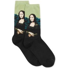 Hot Sox Women's Trouser with Artist Print Socks ($8) ❤ liked on Polyvore featuring intimates, hosiery, socks, accessories, socks/tights, shoes, leaf mona lisa, patterned trouser socks, hot sox and print socks