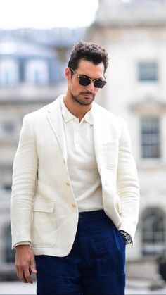 HQ - David Gandy at Day 4 of London Fashion Week Photographer: Christian Vierig Smart Casual White Shirt, Smart Casual Menswear, David Gandy, Day Party Outfits, Ralph Lauren Trousers, Streetwear Jackets, Men Fashion Show, Men's Fashion, Mens Clothing Styles