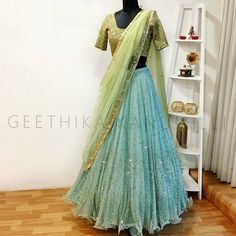 20 Latest Bride Sister Lehengas By Geethika Kanumilli - Half Saree Lehenga, Bridal Lehenga Choli, Indian Lehenga, Lehenga Blouse, Saree Wedding, Sarees, Lehenga Gown, Anarkali Dress, Pakistani