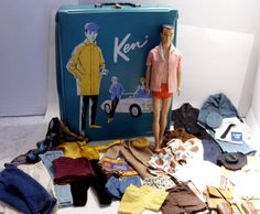 Blue Ken Doll Case Brown Hair Ken Doll and Assorted Clothing