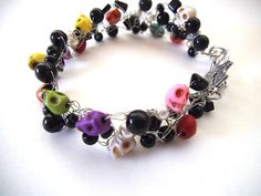 Wire Crocheted Bracelet with MultiColor by TerriJeansAdornments