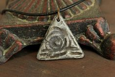 OOAK Pyramid Necklace Primitive Tribal by EtinifniCreations, $20.00 #handmade #artisan #jewelry #metalwork