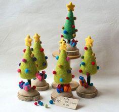 Mini Christmas Tree - Needle Felted Home Decor Present Idea - Light Green Mini Christmas Tree, Felt Christmas Ornaments, Christmas Decorations, Xmas Trees, Christmas Headbands, Christmas Stuff, Felt Tree, Felting Tutorials, Wet Felting