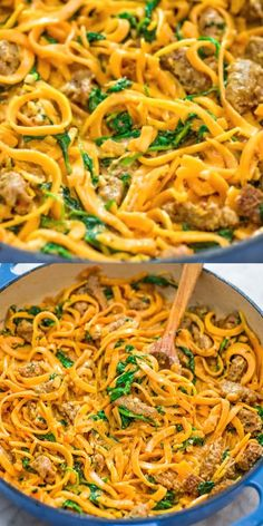 You are going to fall in love with these Butternut Squash Noodles with Sausage! Made with Italian sausage spinach spiralized butternut squash garlic cream and Parmesan cheese this dish is just bursting with flavors! Spiralized Butternut Squash, Butternut Squash Noodle, Squash Noodles, Vegetable Noodles, Spiralized Veggie Recipes, Easy Vegan Dinner, Vegan Dinner Recipes, Vegetarian Recipes, Healthy Recipes