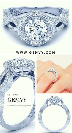 "Receive great suggestions on ""diamond engagement rings oval"". They are on call for you on our website. Round Diamond Engagement Rings, Three Stone Engagement Rings, Designer Engagement Rings, Vintage Engagement Rings, Halo Rings, Bling Wedding, Wedding Stuff, Wedding Ideas, Vintage Diamond"