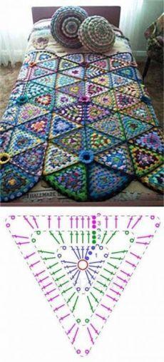 Crochet Granny Square Blanket Pattern Ganchillo 54 New Ideas Crochet Motifs, Granny Square Crochet Pattern, Crochet Chart, Crochet Squares, Love Crochet, Crochet Granny, Granny Squares, Crochet Bobble, Crochet Flowers
