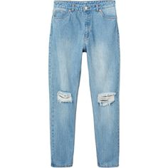 Monki Kimomo salt & peppar (340 ZAR) ❤ liked on Polyvore featuring jeans, pants, bottoms, clothes - pants, blue stone wash, stonewash jeans, relaxed jeans, blue jeans, tapered leg jeans and monki