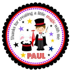 Magician  Personalized Stickers Favor Stickers by thepaperkingdom, $6.00