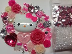 Hello Kitty DIY Hot Pink Bling Iphone 5 Case Kawaii Cabochons Decoden Kit