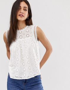 Warehouse broderie shell top in white | ASOS