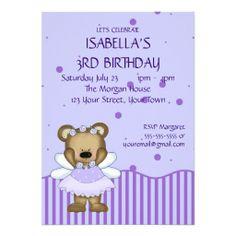 Custom Teddy Bear Blue Fairy Princess Custom Announcements