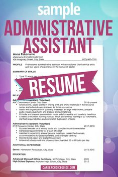 This sample administrative assistant resume shows you how to format your resume if you gained your most relevant experience through volunteer work, and not paid employment. #resumes #careerchoiceguide Cover Letter Tips, Writing A Cover Letter, Cover Letter For Resume, Cover Letters, Interview Advice, Job Interview Questions, Career Advice, Resume Writing Tips, Resume Tips
