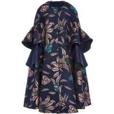 DELPOZO Ruffled Jacquard Coat ($3,200) ❤ liked on Polyvore featuring outerwear, coats, delpozo, metallic coat, ruffle coat, floral print coat, floral coat and jacquard coat