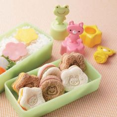 Fun way to prepare your kid's lunch.  Mini bread cutter/stamp.