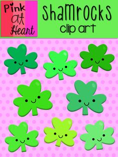 Shamrocks Clip Art from kac2877 from kac2877 on TeachersNotebook.com (11 pages)  - 8 cute png Shamrock images!